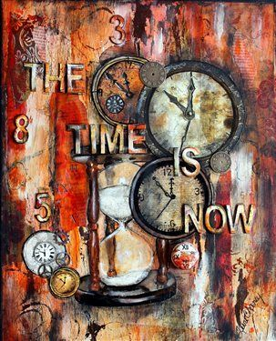 """The time is now"" mixed media collage - Media - Cloth Paper Scissors"