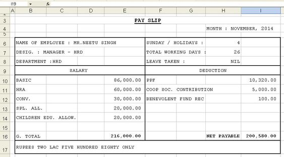 Get Salary Slip Format In Excel Microsoft Excel
