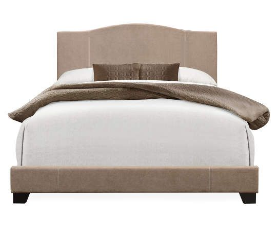 Sand Denim Camelback Upholstered King Bed Bed Upholstered
