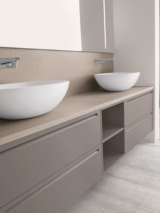 Mueble para doble lavabo en apoyo sobre encimera ba o - Mueble bano sobre encimera ...