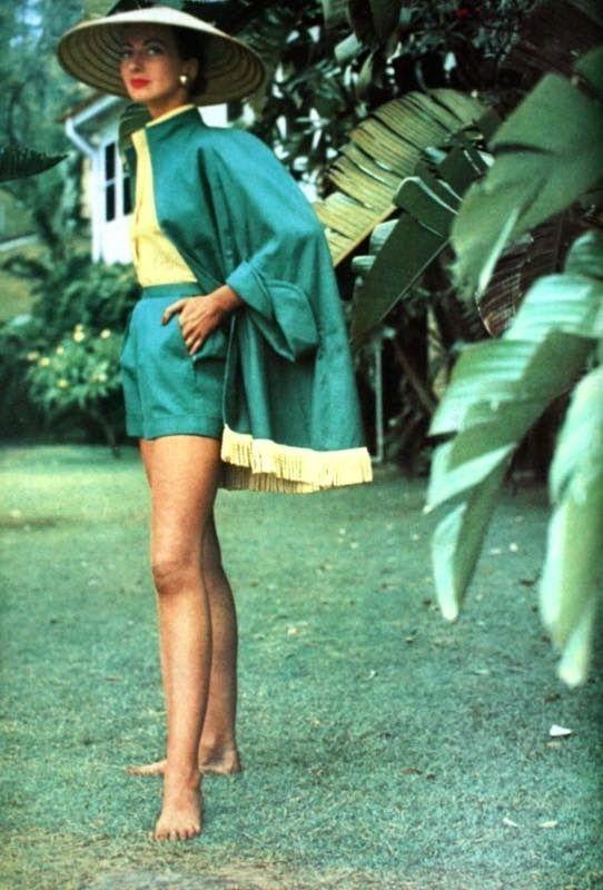 Della Oake in an Australian garden wearing a three piece playsuit. Photo by Image via Pinterest.