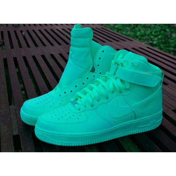 Candy Paint Nike Air Force 1 Customs in All Red, Blue, Green, Pink,... (£135) ❤ liked on Polyvore featuring shoes, sneakers, nike, jordans, red sneakers, green sneakers, red shoes, waterproof sneakers and blue shoes