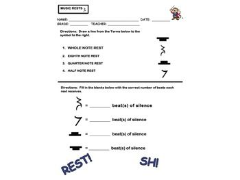 MUSIC RESTS WORKSHEET PAGE FOR ASSESSMENT! Great For Substitutes ...