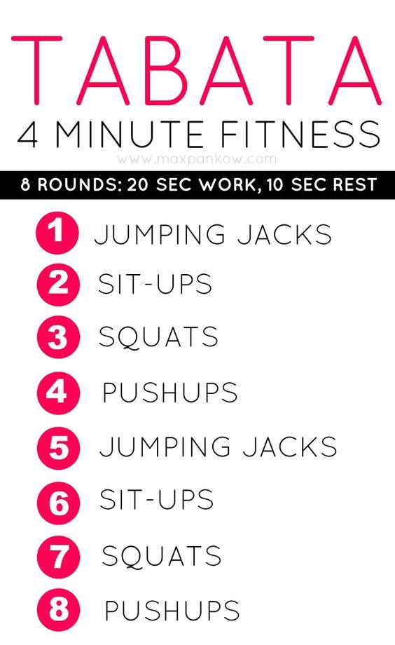 4 Minute Fitness! Tabata training for maximum fat burn in minimum time!: