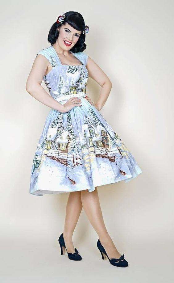 Veronique Pin Up Dress in Winter Wonderland print.  My ideal Christmas dress :)