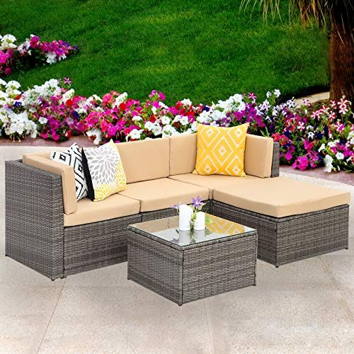Wisteria Lane Outdoor Sectional Patio Furniture 5 Piece Wicker Rattan Sofa Couch With Ott Sectional Patio Furniture Outdoor Patio Furniture Sets Beige Cushions