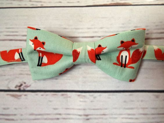 Made to order fox print boys bow tie A stylish mint green background with a fox print 100% cotton  The bow tie is fully stitched by machine and