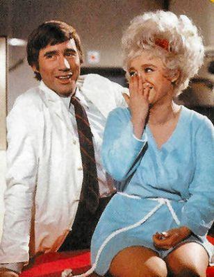 Jim Dale & Barbara Windsor share a joke from the set of Again Doctor