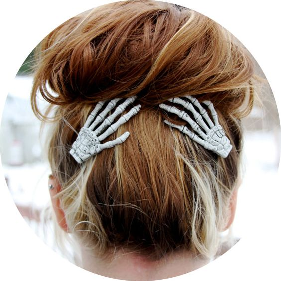 Hey, I found this really awesome Etsy listing at https://www.etsy.com/listing/113690012/sale-skeleton-hand-hair-clips-set-of-two