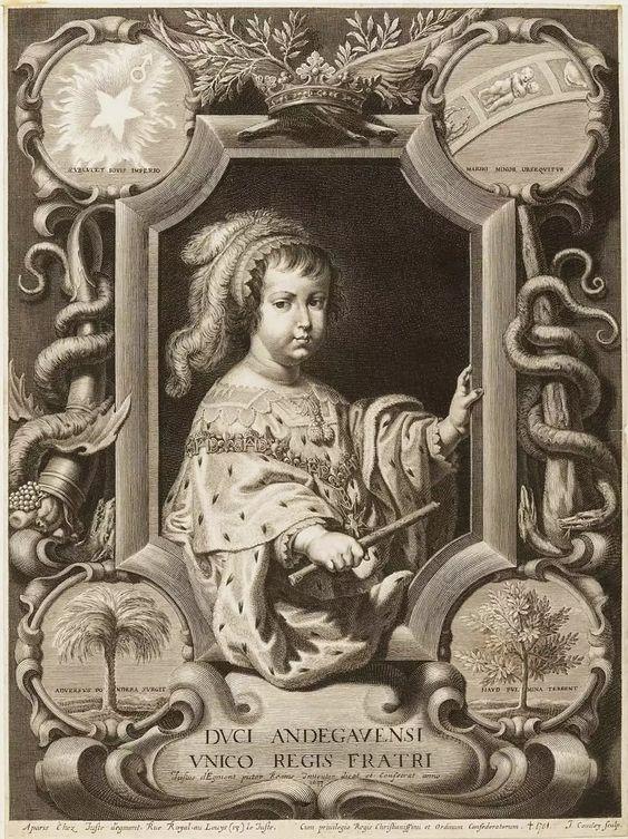 Philippe de France, Monsieur, duc d'Orléans, à 4 ans, en 1647, gravure d'après Juste d'Egmont