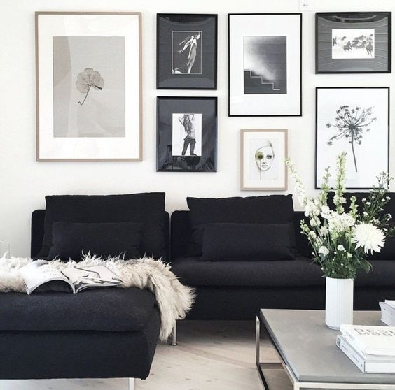 Black and white living room: