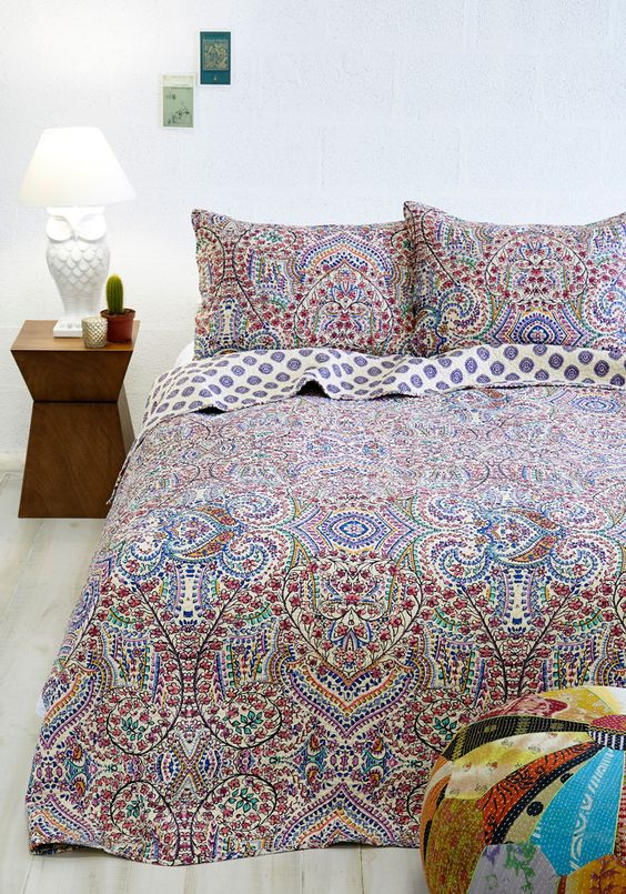 Refreshed and Radiant Quilt Set in Twin. Awakening from a rejuvenating nights sleep is doubly delightful when youre tucked cozily beneath this floral-printed quilt set! #multi #modcloth