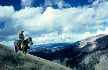 Photo of horseback rider in the high country