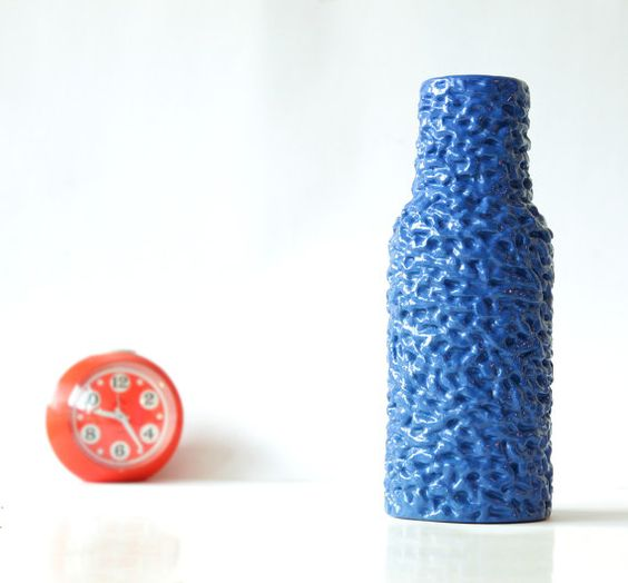 Crazy Blue Panton Pop Bubble Vase - Mid Century Op Art Memphis - 60s 70s