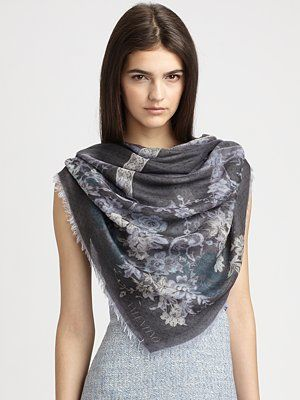 Valentino Floral & Lace Overprint Scarf