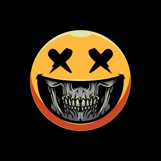Skull grin emoticon illustration Premium... | Premium Vector #Freepik #vector #abstract #design #halloween #cartoon
