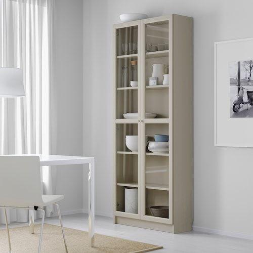 Billy Bucherregal Mit Glasturen Beige Ikea Deutschland In 2020 Bookcase With Glass Doors Bookcase Glass Cabinet Doors