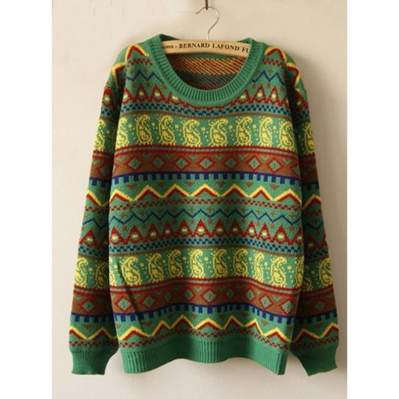 Green Geometric Pattern Loose Pullovers Sweater$48 ($48) found on Polyvore