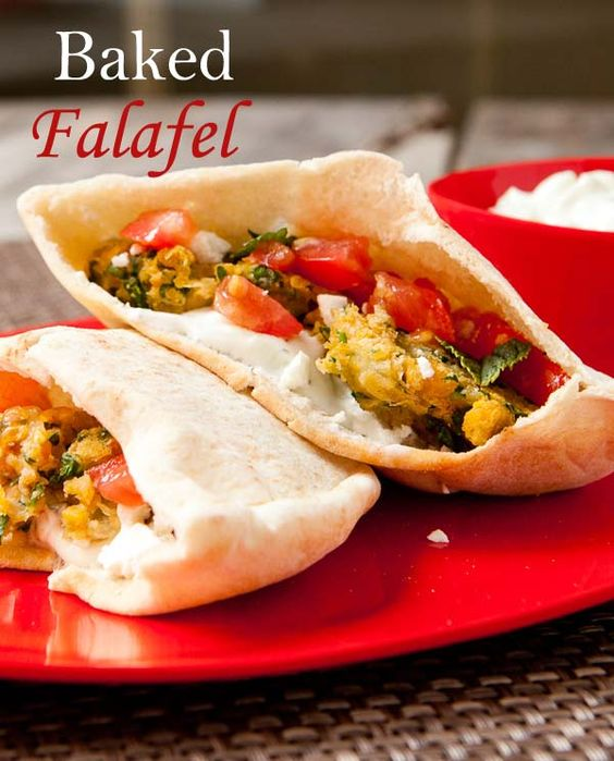 Baked Falafel in pitas with tzatziki