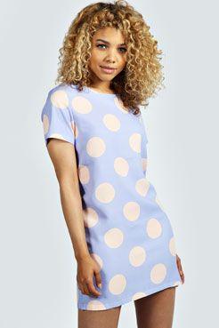 Abbie Polka Dot Pastel Woven Shift Dress