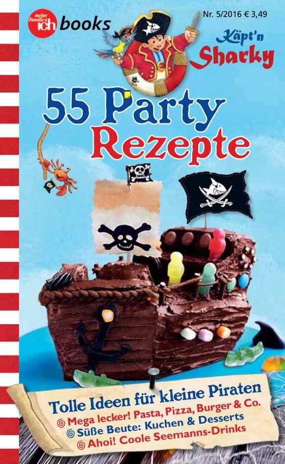 """Käpt'n Sharky / Piraten-Proviant für Kinder Jetzt im Supermarkt an der Kasse! Bei Jungs sind die Abenteuergeschichten von Käpt'n Sharky sehr beliebt. Zwischen aufregenden Begegnungen mit Seeungeheuern und miesen Schurken brauchen Käpt'n Sharky und seine Crew auf alle Fälle etwas Ordentliches zwischen die Kiemen. Meine Familie & ich sorgt für den richtigen Piraten-Proviant mit Bratwurstkraken, Piratenflaggen-Pizza, Seemonster-Burgern, leckeren Ahoi-Drinks & Co"""""""