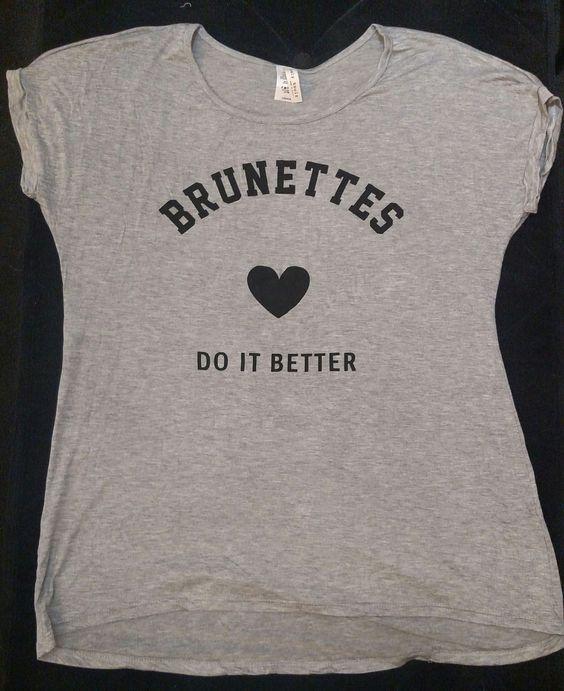Short Sleeve Grey T-Shirt Brunettes Do It Better