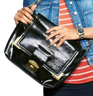 """AVON - mark Downloaded Style Bag. Bags don't get more tech friendly than this - a zippered back flap conceals your tablet and makes it conveniently accessible. No more carrying around a separate case! 3 interior pockets: 2 slip pockets at front, 1 zippered pocket at back. Snap and release closure, detachable strap. Faux leather with goldtone hardware and chain strap. 10 1/4"""" H x 12"""" W x 4"""" D (16 1/2"""" handle drop) Close. $45.00"""