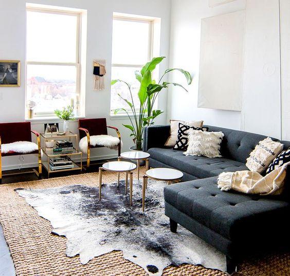 home tour a glam bohemian loft in chicago peau de vache With tapis peau de vache avec modern loft canape