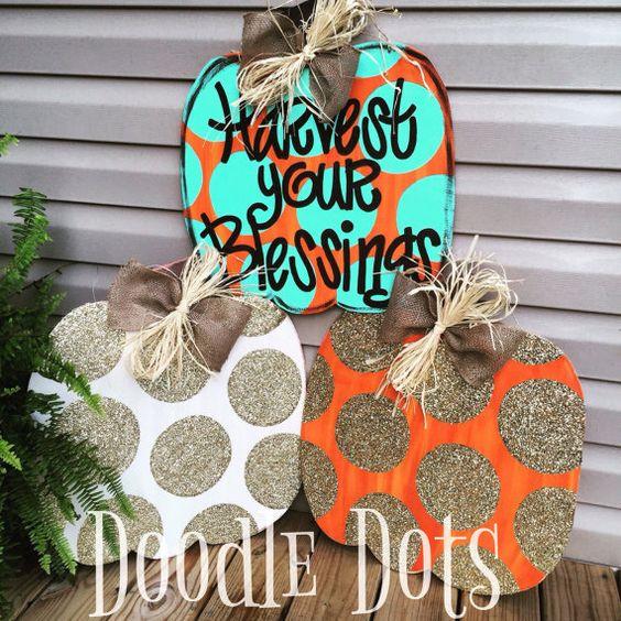 Glitter Pumpkin Door Hanger by DoOdLeDotsAnDmOre on Etsy