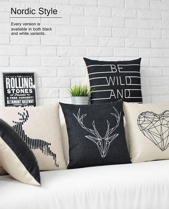 Linnen Scandinavische Stijl zwart wit Herten kussens, Nordic geometrische kussen dier, vintage stoelkussens in       Min. Bestelling is 10 usd! Kunt u een gemengde orde. De minimale bestelling is van kussen op AliExpress.com   Alibaba Groep