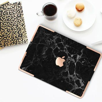 Black Marble Gold Accents Hybrid Hard Case for Apple Macbook Air & Mac Pro Retina, New Macbook 12""