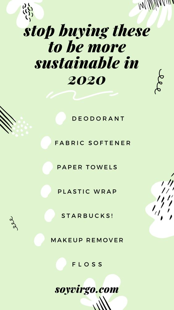 be sustainable in 2020, stop buying these to be more sustainable in 2020 checklist to do list by soyvirgo.com