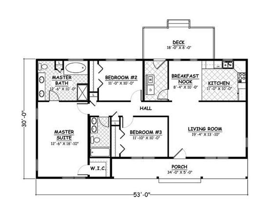 1420 Sf 53x30 3 2 0 1 Story Floor Plans House Plans Diy House Plans