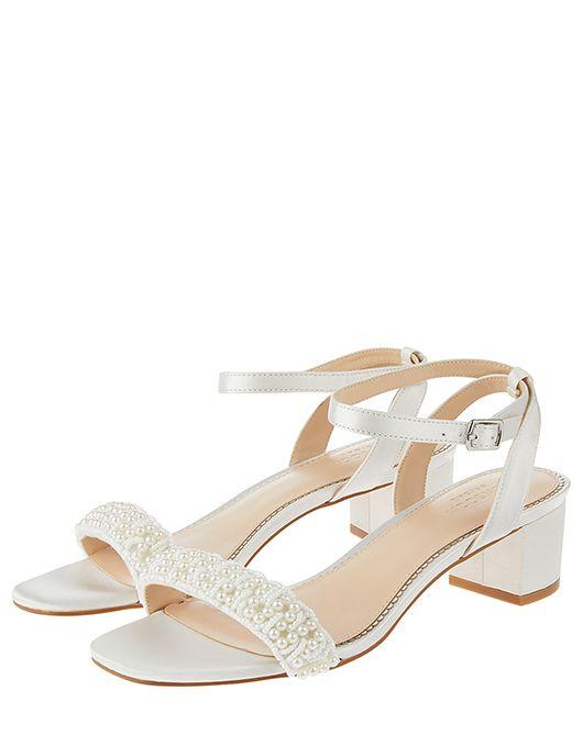 Laurel Pearl Low Block Heel Sandals Ivory Uk 37 Us 6 Eu 37