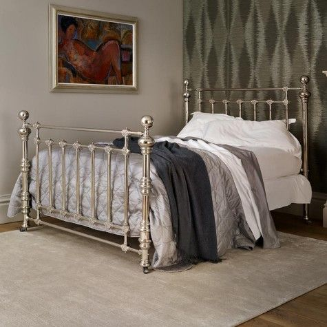 Coriander Victorian Nickel/Brass Luxury Bed | AND SO TO BED