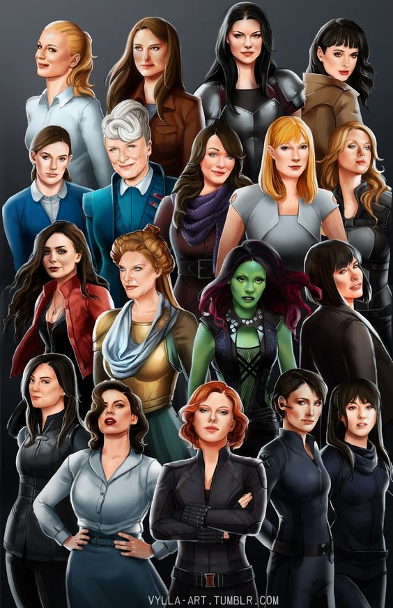 """Usually I don't really appreciate """"women of Marvel"""" things, but this one is really nice. But who is in the top right and top left??"""