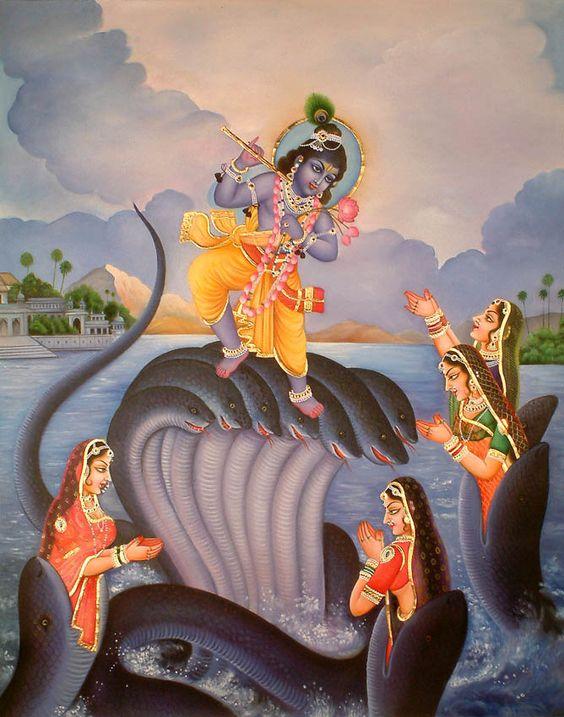 Krishna dances on the hoods of the giant snake, Kaliya while Kaliya's wives beg for mercy