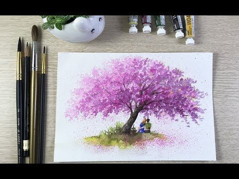 Paint Cherryblossom In Watercolor Youtube Cherry Blossom Watercolor Cherry Blossom Painting Acrylic Watercolor Flowers Tutorial