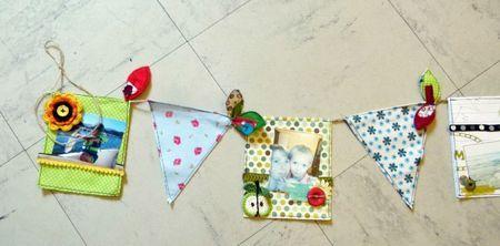 Very sweet mini-album decorative display...  Guirlande avec les Ateliers Breloques et Pacotilles.