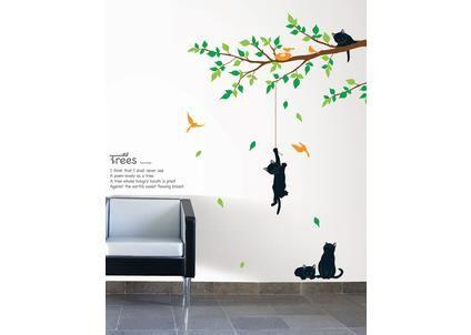 Nástěnná samolepka Ambiance Koťátka a strom