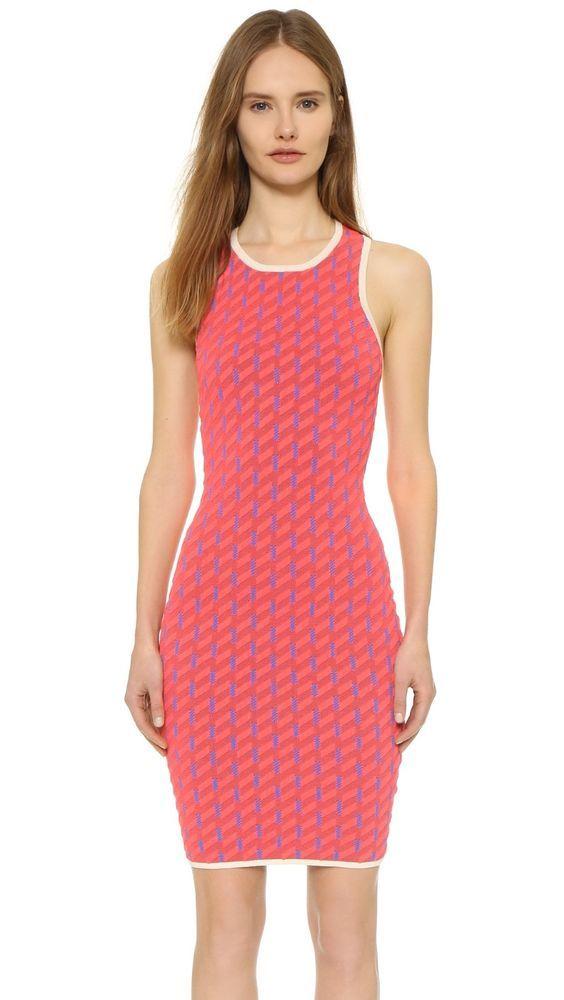 Jonathan Simkhai Techno Tribal Criss Cross Back Neon Pink Dress New 545 Size S Tribal Dress Neon Pink Dresses Dresses