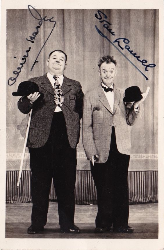 Laurel and Hardy signed picture filmFd