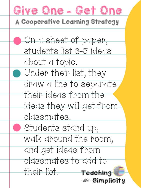 Give One - Get One is a great cooperative learning strategy and formative assessment option all in one. It goes something like this: Ideas For Using This Strategy Math: List prime or composite num...