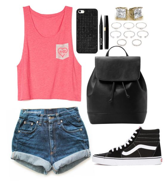 """""""summer break is over"""" by kyrstenann ❤ liked on Polyvore featuring Levi's, Vans, MANGO, BaubleBar, Forever 21 and Stila"""
