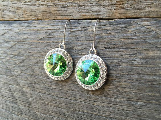 Green Crystal Earrings Swarovski Rhinestone Dangle on Silver or Gold French Wire Hook by haileyallendesigns