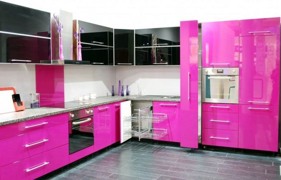 Innovative Kitchen Decoration Ideas with Very Cool Color : Sweet Pink Theme Modern Kitchen Decoration With Black And Pink Kitchen Cabinet Co...