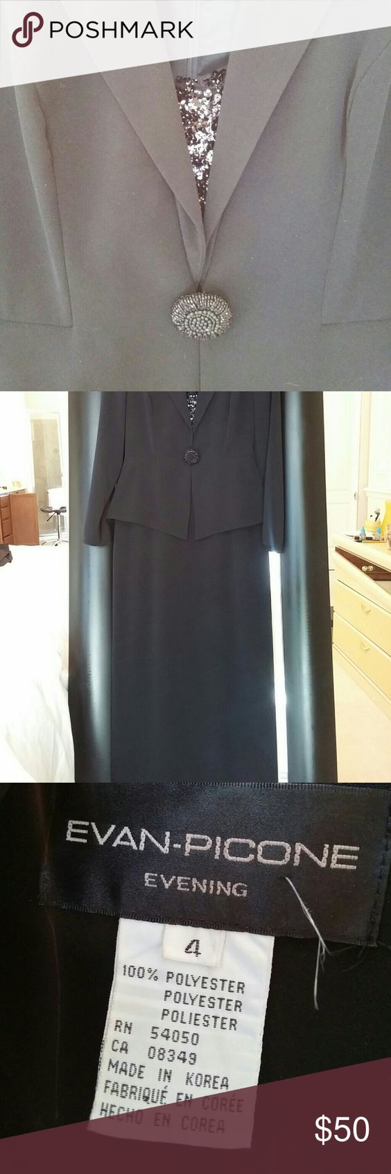 Evan Piccone one piece suit dress. One piece size 4 jacket dress with black sequence. Worn once. Evan Picone Dresses