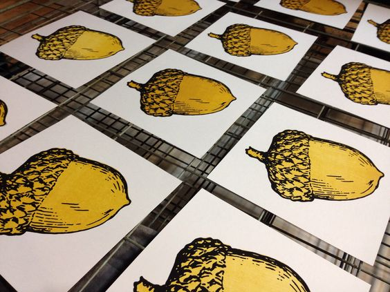 Golden Acorns - screenprint