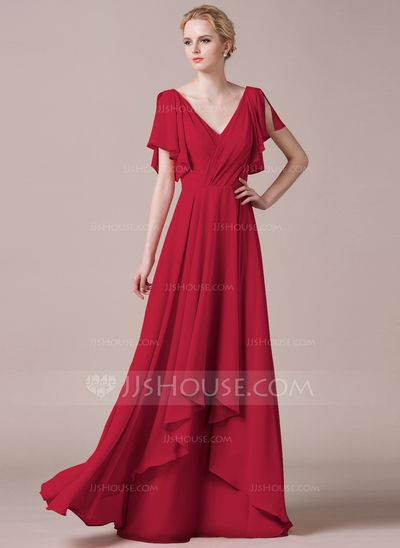 A-Line/Princess V-neck Floor-Length Cascading Ruffles Zipper Up Sleeves 1/2 Sleeves No Watermelon Spring Summer Fall General Plus Chiffon Bridesmaid Dress