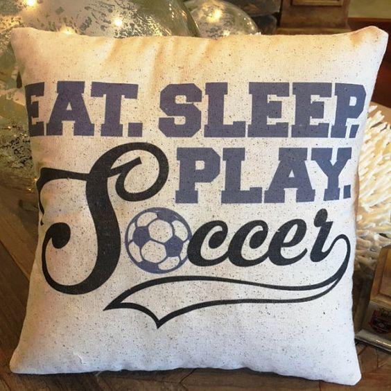 Soccer Pillow 12x12 Eat Sleep Play Soccer sports by JoellesCorner Like and Repin. Thx Noelito Flow. http://www.instagram.com/noelitoflow